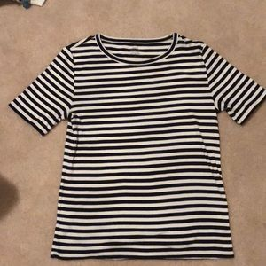 J crew navy and white striped shirt